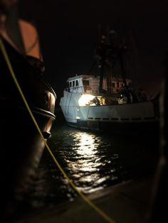 Night time at Yaquina Bay, Newport Oregon. iPhone image by Sabrina Eickhoff. Fishing Boats, harbor, seafood, ocean