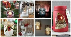 DIY Christmas Mason Jar Lighting Crafts [Instructions]:different ways to make mason jar lights for mantel, dinning table and wall holiday decoration.