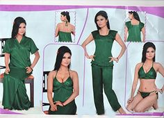 Indiatrendzs Women s Sexy Hot Nighty LINGERIE G STRING Green 6pc Set  Nightwear Indiatrendzs http   9b66b78e7