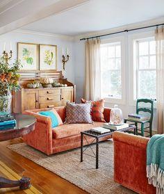 Why not consider a burnt orange sofa? (: David A. Land, : @deborahherbertson ) #falldecor #farmhousestyle