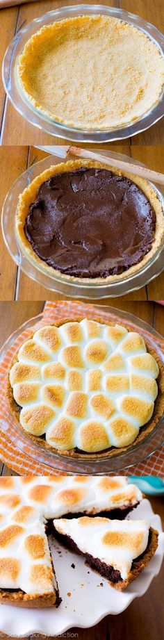 Super easy and SO DELICIOUS s'mores pie with homemade brownies and graham cracker crust! Recipe found on sallysbakingaddiction.com