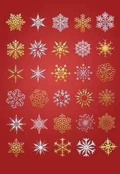Golden and silver color Christmas snowflakes in Photoshop vector shape file, useful design elements for Christmas & winter design.