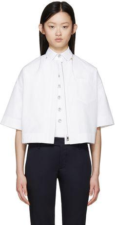 JIL SANDER White Cropped Poplin Jacket. #jilsander #cloth #jacket