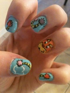 My Lorax inspired nail art that I did:)
