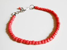 coral red beaded anklet by CaiMonkeyCrafts on Etsy