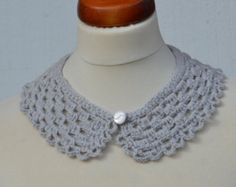 Items similar to LUX Wedding white crochet collar with bead, peter pan collar, lace collar, mustard, collar necklace,valentine day,christmas,OOAK on Etsy