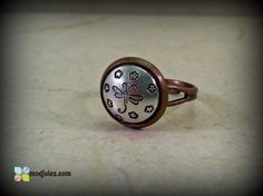 Hand Stamped Dragonfly Ring Antique Copper Adjustable by ModJules