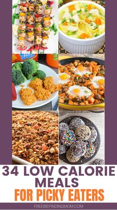 Are you trying to eat healthier but are struggling to find delicious and nutritious meals? In this list of 34 Low Calorie Meals for Picky Eaters you'll find low calorie recipes for breakfast, lunch, dinner, snacks, and desserts. If Instant Pot chicken noodle soup, low carb air fried chicken, and pizza kabobs sound yummy to you then you are in the right place! Head on over to check out these low calorie dinner ideas and more. #lowcalorierecipes #lowcaloriemeals #lowcaloriesnacks Low Calorie Dinners, Low Calorie Desserts, No Calorie Foods, Low Calorie Recipes, Healthy Recipes, Free Recipes, Healthy Foods, Keto Recipes, Healthy Eating