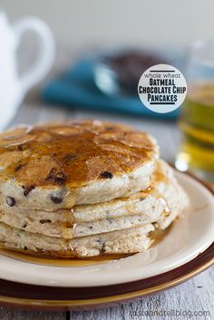Whole Wheat Oatmeal Chocolate Chip Pancakes from www.tasteandtellblog.com @Deborah Harroun {Taste and Tell}
