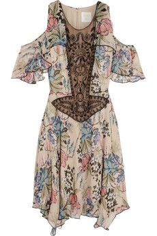 Anna Sui Floral-print silk-chiffon and embellished tulle mini dress | NET-A-PORTER