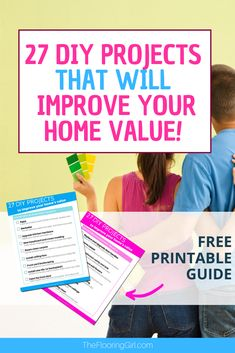 These 27 DIY projects can improve your home's value and are easy for do-it-yourselfers.  Many can be done in a weekend. Do It Yourself Home, Improve Yourself, Diy Projects To Improve Your Home, Diy Projects Cans, Luxury Vinyl Plank, Home Improvement Projects, Home Values, Free Printables, Diy Home Decor