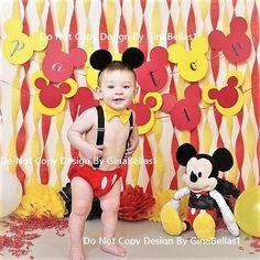 Mickey Mouse cumpleaños traje bebé pastel orejas smash ligas