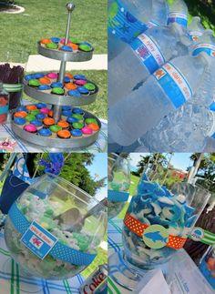 Beach party - Cute, cute, cute! Candy, police tape streamers, beach blanket/swimming pool balls.
