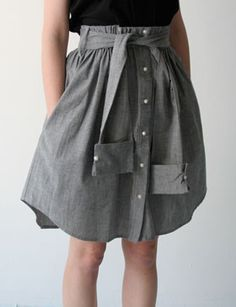 A shirtskirt! You can make one in 10 min with an old, oversized men´s shirt, a bit of thread and elastic band. Cut the shirt according to the desired length (stitch elastic at the top) and fold the top with elastic band. Sew the arms together to serve as a belt/sash and add a few belt loops from the excess fabric.