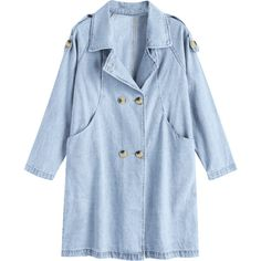 Denim Double-breasted Trench Coat (135 BRL) ❤ liked on Polyvore featuring outerwear, coats, zaful, denim trenchcoat, blue trench coats, trench coat, denim trench coat and denim coat