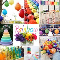 Rainbow Wedding Colors - If you just cannot choose one or two or three wedding colors and want a rainbow of colors, you can do that, too! With a rainbow theme you do want to be careful with your colors so you don't end up with something garish. With the right touch, a rainbow wedding can work.