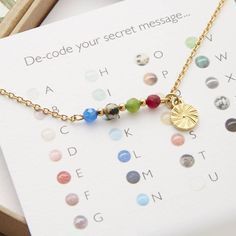 A personalised secret message necklace, handmade with semi precious…