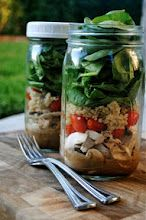 Pack your lunch salad in a mason jar with dressing on the bottom so it stays fresh