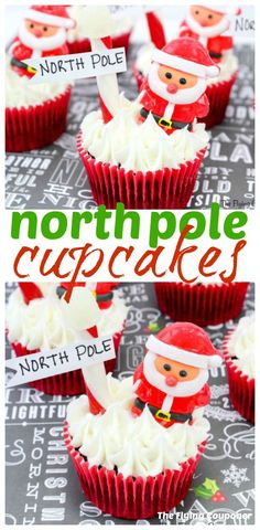North Pole Cupcakes. Christmas is only a few days away and I can't wait to start baking our favorite Christmas desserts. This year we will also make these North Pole Cupcakes with the kids. Best cupcake recipe ideas for kids. Easy recipes. The Flying Couponer.