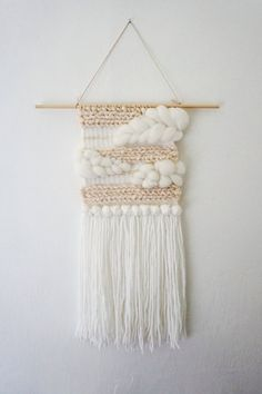 Handwoven Striped White and Taupe Cream Wall by kindredgoodsco