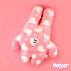 Bunny Plush - Medium / White Hearts & Purple Dots