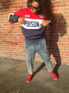 """blackfashion: """"Wearing: Howard University Tradition Apparel, Hella Thrifty Acid Wash Overalls, H&M sneakers Dannie Cherie, Oakland, CA Submitted by: Hella. Dream School, Howard University, School Outfits, 90s Fashion, Overalls, Sweatpants, Sporty, Photoshoot, Street Style"""