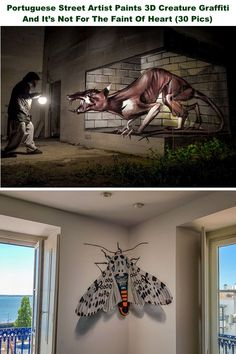 Portuguese Street Artist Paints Creature Graffiti And It's Not For The Faint Of Heart Pics) – My Street Inspiration Odeith Street Art Murals Street Art, 3d Street Art, Street Art Graffiti, Street Artists, Amazing Drawings, Art Drawings, Shadow Art, Illusion Art, Artist Painting