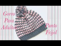 Crochet Bean stitch adult beanie hat in two colors easy to make #115 - YouTube