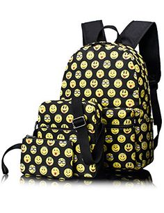 948ba0843de9 Leaper Cute Emoji Kids Backpack School Bag Shoulder Bag Pencil Cases ...