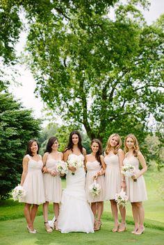 Wedding Blog French Garden Wedding in Philadelphia! Bridesmaids carring astilbe, garden roses, hydrangea, Nancy Saam Flowers