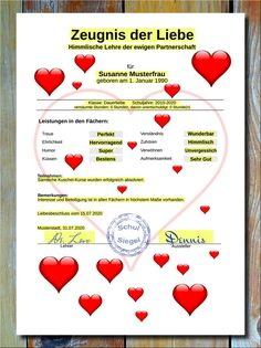 Testimony of the love of the heart * Now you can finally give your beloved partner everything in writing, us in the form of a great, uniquely designed certificate. A very special way to express your love and satisfaction. Valentines Day Gifts For Him, Kids Valentines, Reality Check, In Writing, Girl Gifts, Boyfriend Gifts, Wedding Anniversary, Texts, Great Gifts