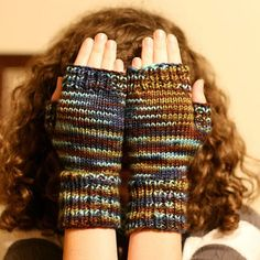 Inspired: Fast & Easy Fingerless Mitts, v.2 - Circular 50 g of your favorite worsted weight makes a pair