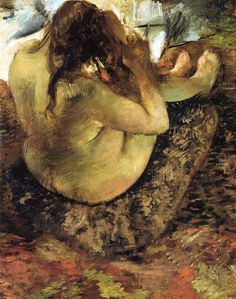 Edgar Degas - Woman Brushing Her Hair (1884)