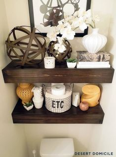 DIY: Chunky Wooden Floating Shelves above toilet Wooden Floating Shelves, Floating Shelves Bathroom, Diy Bathroom Decor, Diy Home Decor, Bathroom Storage, Bathroom Ideas, Shelves Above Toilet, Diy Casa, Bad Inspiration