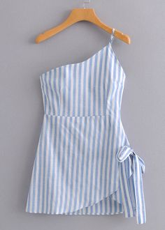 One Shoulder Striped Dress Cute Casual Outfits, Cute Summer Outfits, Pretty Outfits, Casual Dresses, Teen Fashion Outfits, Kids Outfits, Fashion Dresses, Dresses Kids Girl, Cute Dresses