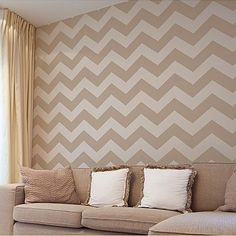 Chevron Stencil - Large - Reusable Wall stencil patterns - allover stencils instead of wallpaper - DIY decor Chevron Stencil, Wall Stencil Patterns, Stencil Designs, Chevron Walls, Geometric Stencil, Damask Stencil, Gold Chevron, Geometric Wall, Diy Wall Decor