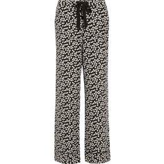 Equipment Avery heart-print washed-silk pajama pants (27.930 RUB) ❤ liked on Polyvore featuring intimates, sleepwear, pajamas, black, equipment pajamas, pj pants, black silk pajamas, heart pajamas and silk pajamas