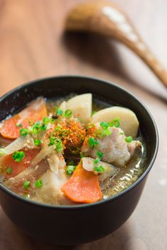 Recipe: Tonjiru (or Butajiru), Japanese pork and vegetable miso soup, which is a mainstay at the dinner table during the frigid months of winter|豚汁 Pork Recipes, Asian Recipes, Cooking Recipes, Healthy Recipes, Ethnic Recipes, Japanese Soup, Japanese Dishes, Japanese Recipes, Pork Soup
