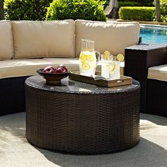 Crosley Catalina Outdoor Wicker Round Glass Top Coffee Table | from hayneedle.com