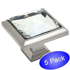 """Cosmas 5883SN-C Satin Nickel Cabinet Hardware Square Knob with Clear Glass - 1-1/4"""" Square - 5 Pack"""