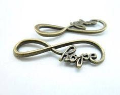 "15pcs 15x39mm Antique Bronze  letter ""8"" Infinity symbol With Hope Connector Link Charm Infinite Pendant c6934"