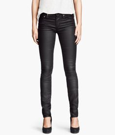 These leather looking skinny jeans are just $30!  #fashion #onabudget #jeans