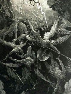Gustave Dore engraving of scene from Paradise Lost, 1870 Dark Fantasy Art, Dark Art, Milton Paradise Lost, Archangel Tattoo, Arte Van Gogh, Biblical Art, Angels And Demons, Classical Art, Angel Art