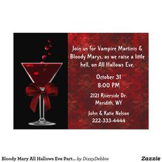 Bloody Mary All Hallows Eve Party Invitaton Invitation Adult Halloween Invitations, Adult Halloween Party, Halloween Party Supplies, Bloody Mary, Hallows Eve, Party Fashion, Party Games, Martini, Party Invitations