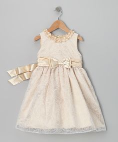 Take a look at this Nannette Beige Bow Dress - Infant on zulily today!