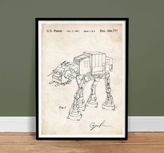 STAR WARS AT-AT IMPERIAL WALKER PATENT PRINT 18X24 MOVIE POSTER GIFT LUCAS 1980 UNFRAMED