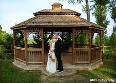 Gazebo shot of the happy couple by ASE Photography #Asheville #Weddings #photography