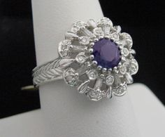 Tanzanite & Diamond Ring, 1.00CT Total, Solid 14K White Gold, 100% Genuine #Cocktail