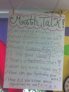 Here's a nice math talk anchor chart. Math Teacher, Math Classroom, Teaching Math, Classroom Ideas, Teacher Tools, Teacher Stuff, Teaching Ideas, Math Charts, Math Anchor Charts
