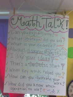 Math Talk- LOVE this @Bonnie S. Michaels !